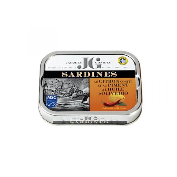 Sardines au citron confit et piment à l'huile d'olive