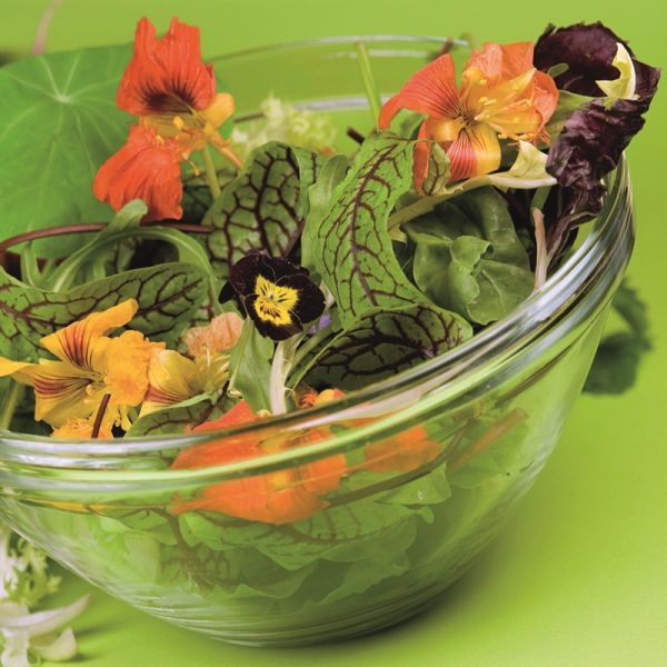Mix of flowers in salad